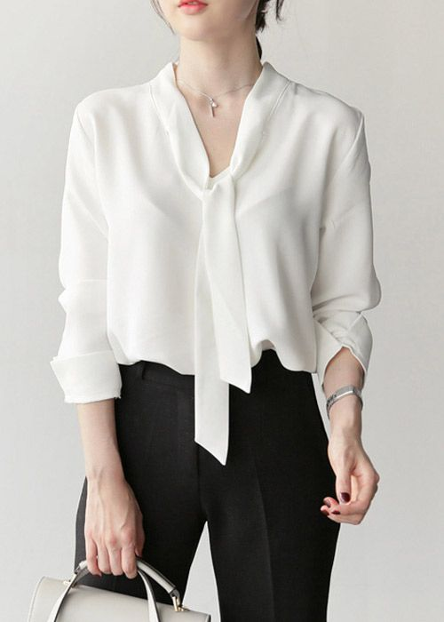 cdb65f9cac6c0 Blusa Chiffon Camisa com Laço no Decote Moda Evangélica