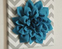 "Wall Flower - Dark Turquoise Dahlia on Gray and White Chevron 12 x12"" Canvas Wall Art- 3D Felt Flower"