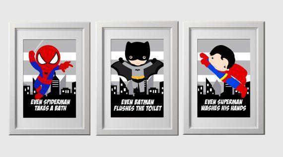 Superhero bathroom wall prints, instant download, set of 3, high