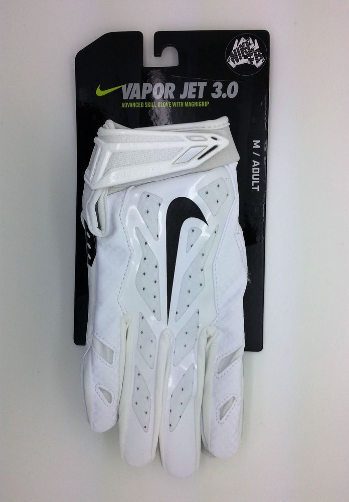 NIKE VAPOR JET 3.0 WHITE FOOTBALL GLOVES PAIR (ADULT MEDIUM) -- NEW  Nike 1e81f542d
