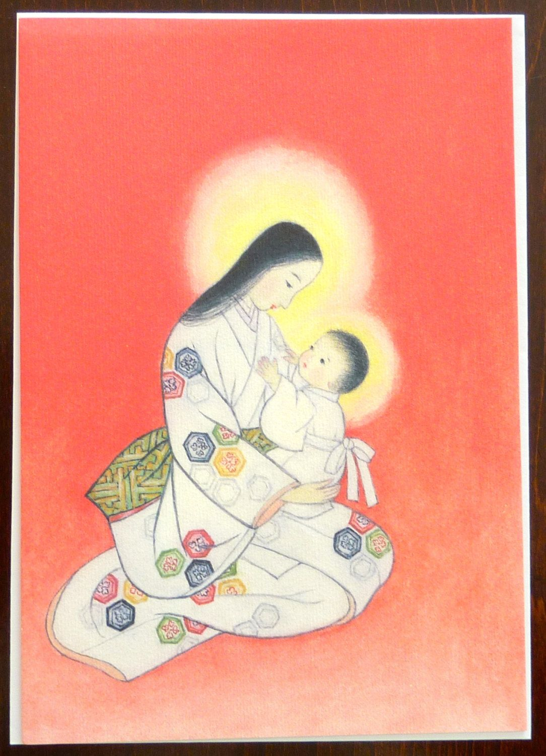 Vintage Japanese Madonna Christmas Greeting Card by
