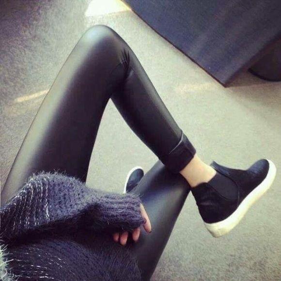 Korea Let's Diet black faux leather legging pants Korea Let's Diet black faux leather legging pants, one size fits most. Let's diet Pants