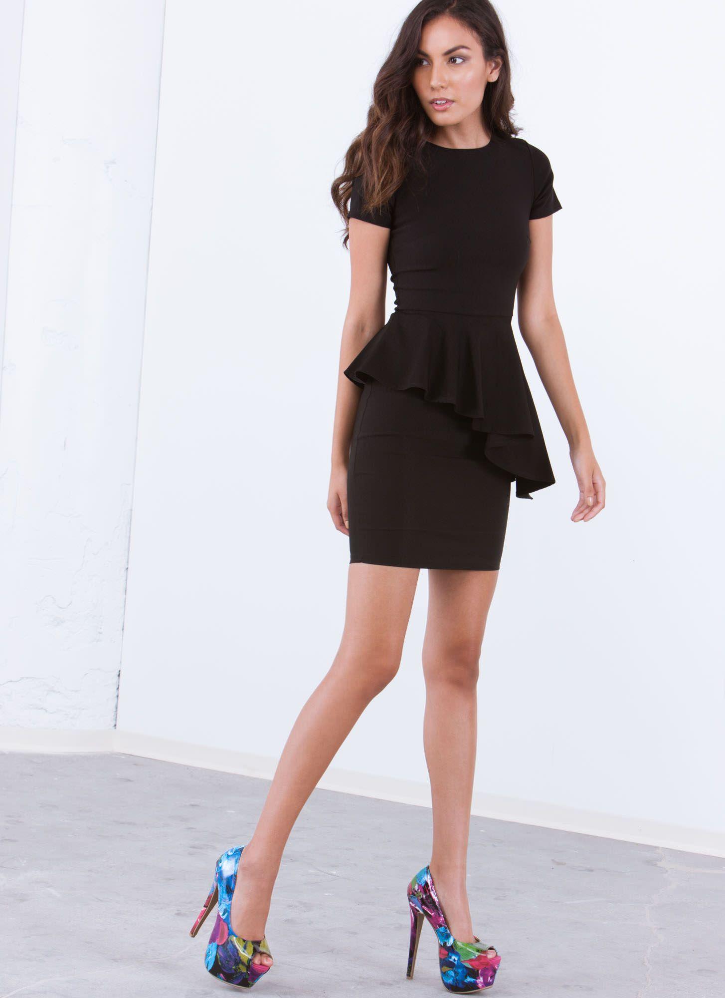 Ruffle Around The Edges Peplum Dress Dresses, Peplum