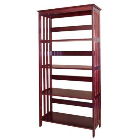 Cherry Mission Style Wooden 4 Tier Bookcase By Hp 90 00 Some Easy Assembly Is Required Mad Etagere Bookcase 4 Shelf Bookcase Living Room Bookcase