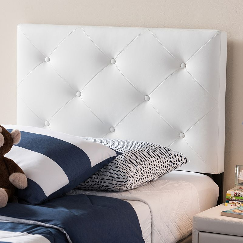 Baxton Studio Baltimore Faux Leather Twin Headboard White Headboard White Twin Headboard Contemporary Headboards