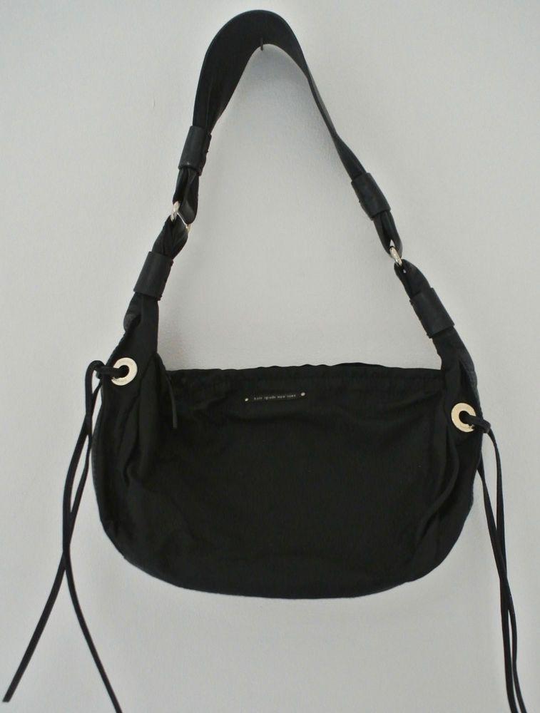 27874cbc234e KATE SPADE Black nylon small Zip Handbag Leather trim Shoulder Bag logo  grommets  fashion  clothing  shoes  accessories  womensbagshandbags  ad  (ebay link)