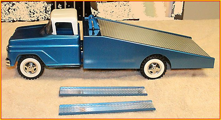 1960 Custom Tonka Teal Blue Wedge Bed Car Hauler Tin Toys