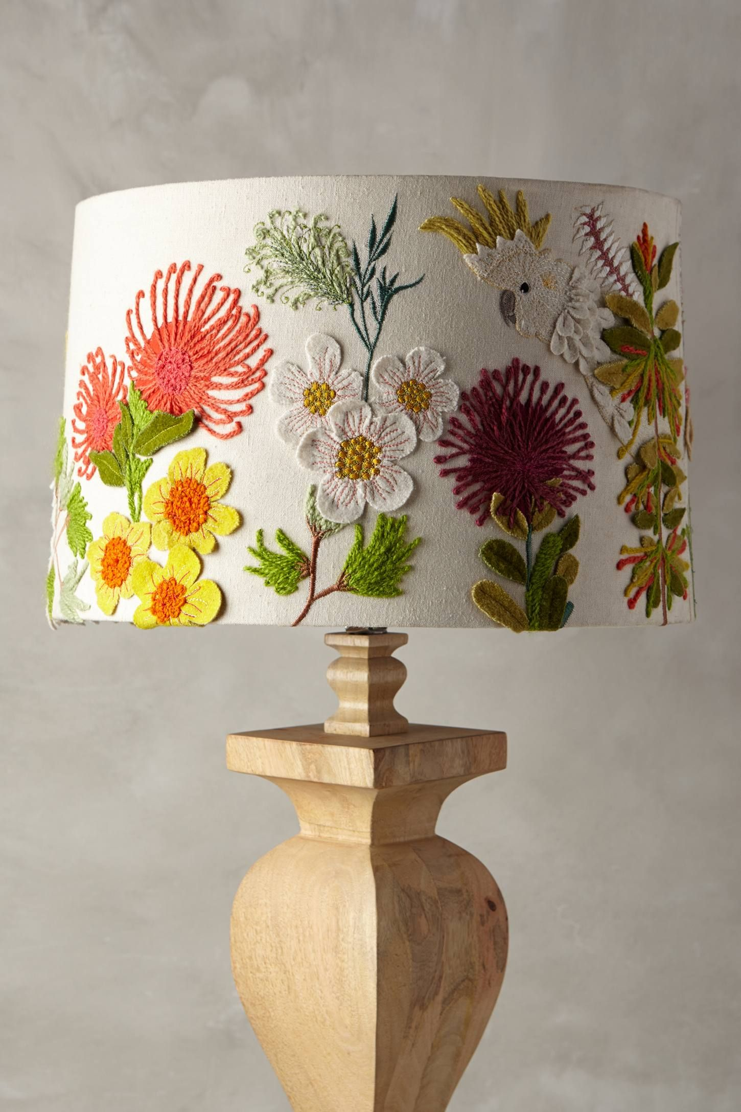 Embroidered Cockatoo Lamp Shade | Lampshades, Embroidery and Lights