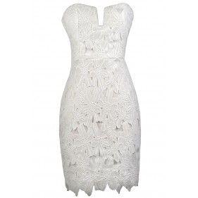 Lovecat lace-bustier strapless dress