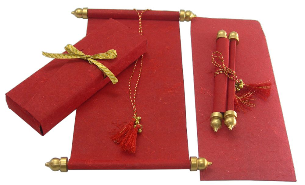 S561 Red Color Handmade Paper Scroll Invitations