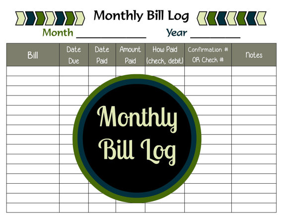 Monthly Bill Log Printable Bill Payment Tracker by BraceletsByJen ...