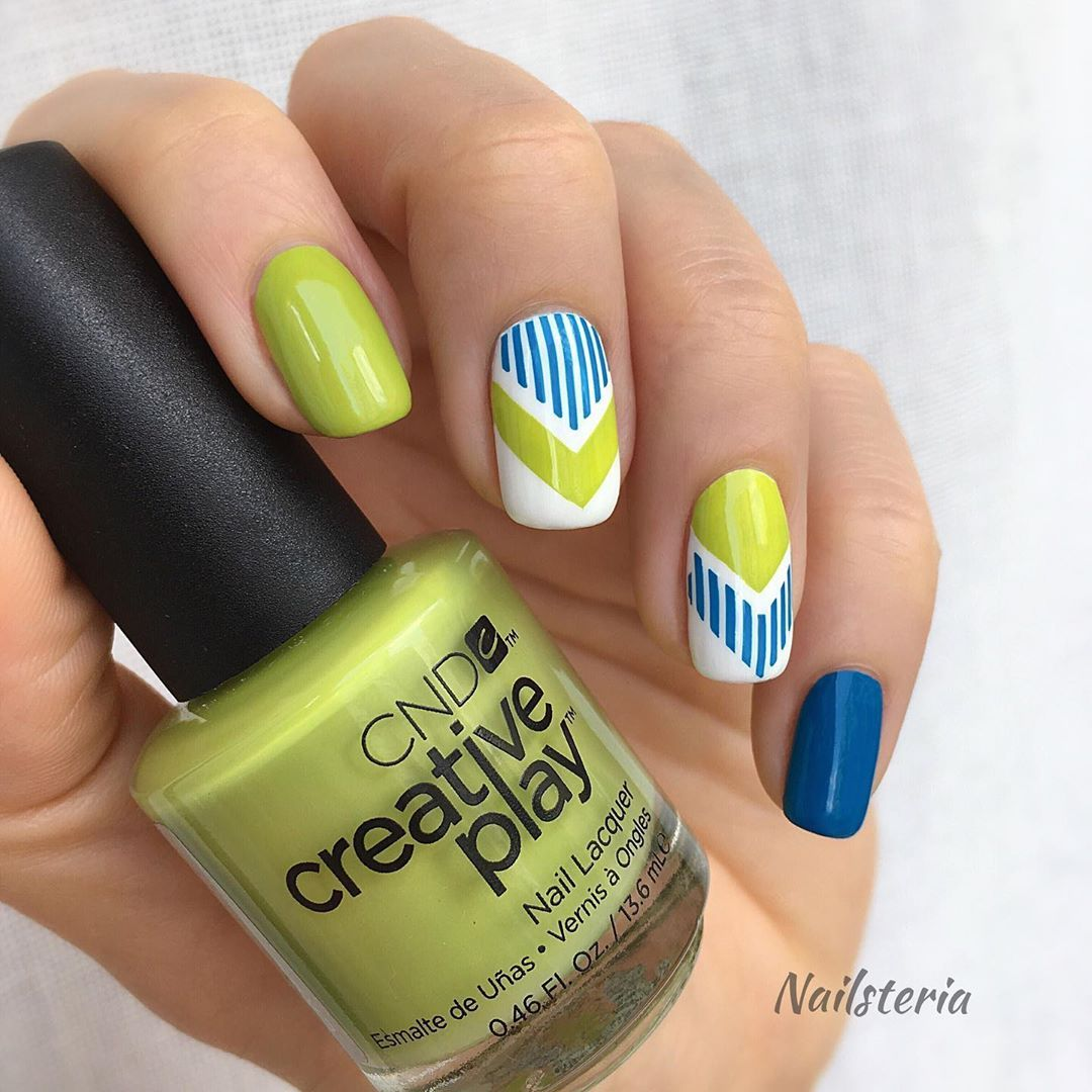 Oops Geometric Design Again Hope You Don T Mind Cndworld Creative Play Nail Polishes Toe The Lime I Nail Art Tutorial Nails Nail Polish