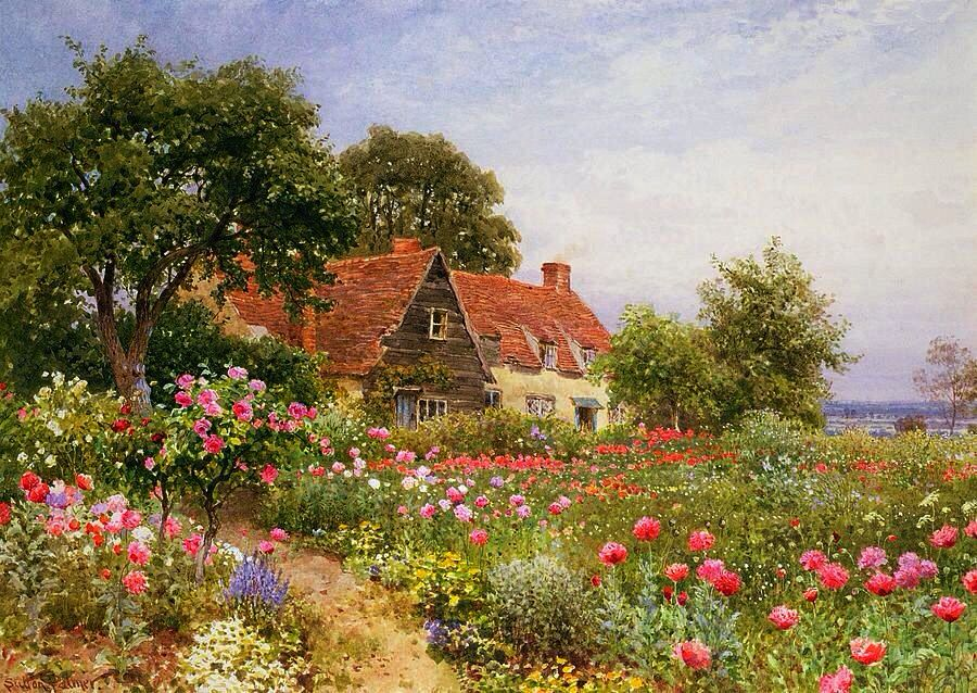 ART Henry Sutton Palmer A Cottage Garden Fine Art Of America
