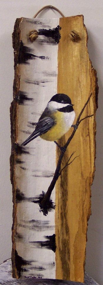 Vogel auf Holz gemalt #tolepainting