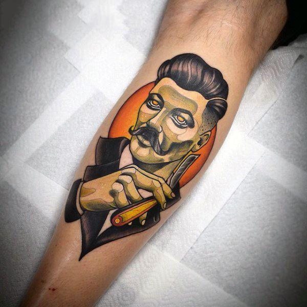 100 barber tattoos for men masculine design ideas tattoo tatoo rh pinterest com barbour tattoo barbers tattoo supplies uk