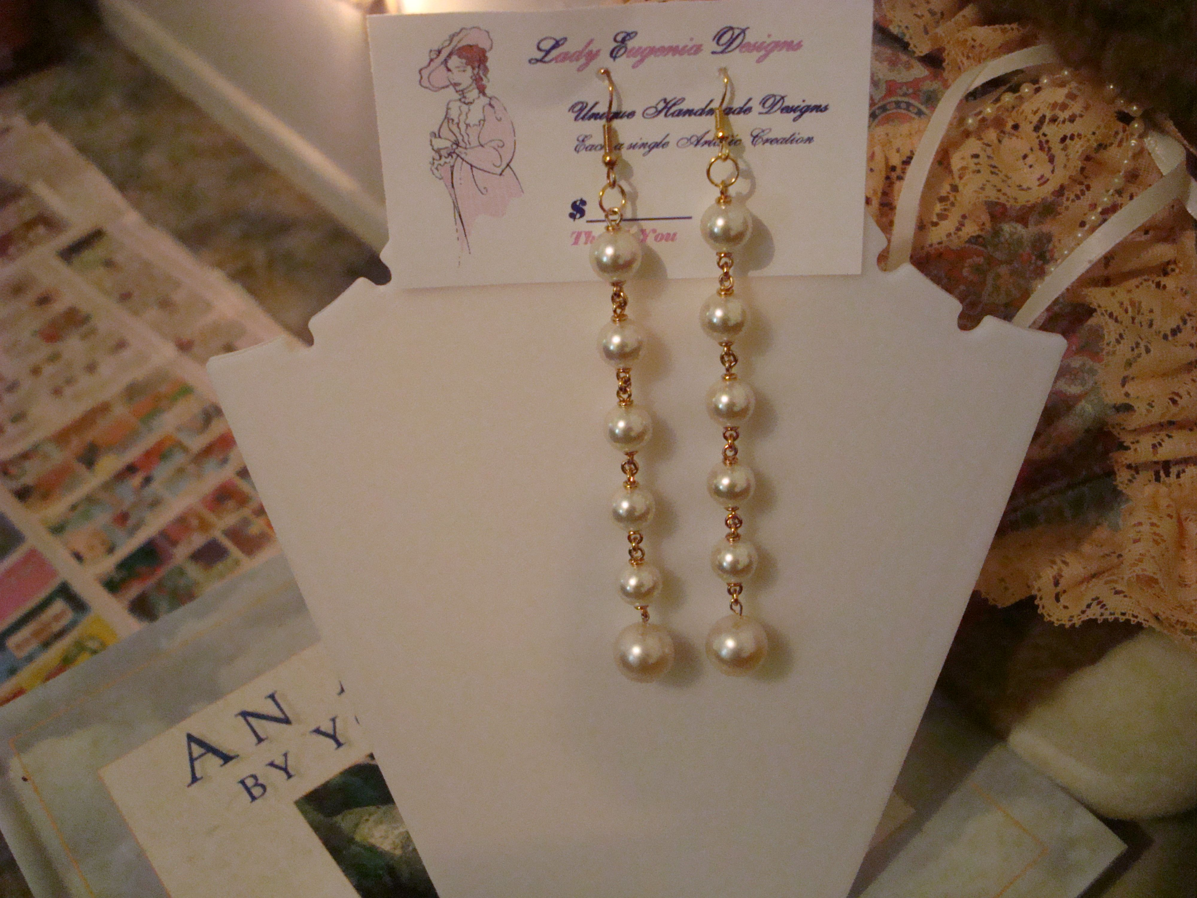 Fresh Water Pearls with gold tone fixings with gold tone hooks.