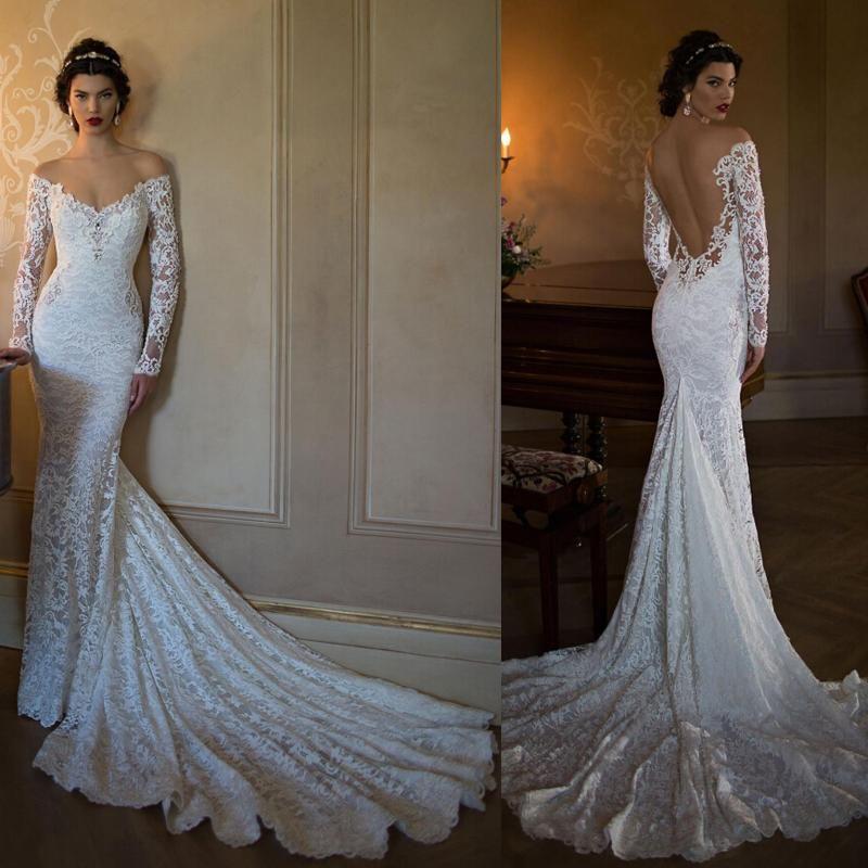 2015 Berta Bridal Lace Wedding Dresses Vintage Off The Shoulder Illusion Long Sleeve Mermaid Wedding G Vestido De Casamento Vestido De Casamento Noiva Vestidos