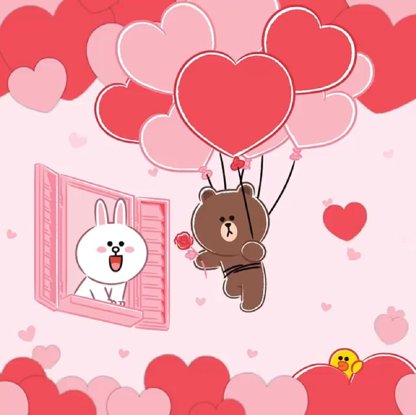 Love Is In The Air Cute Love Gif Line Friends Bunny And Bear