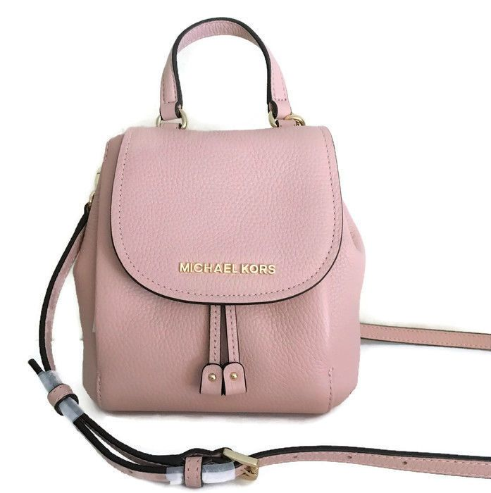 4b7a806e1a0f Michael Kors Riley Small Flap Pack ~ Pastel Pink Leather Backpack Blush NWT   MichaelKors  Crossbody