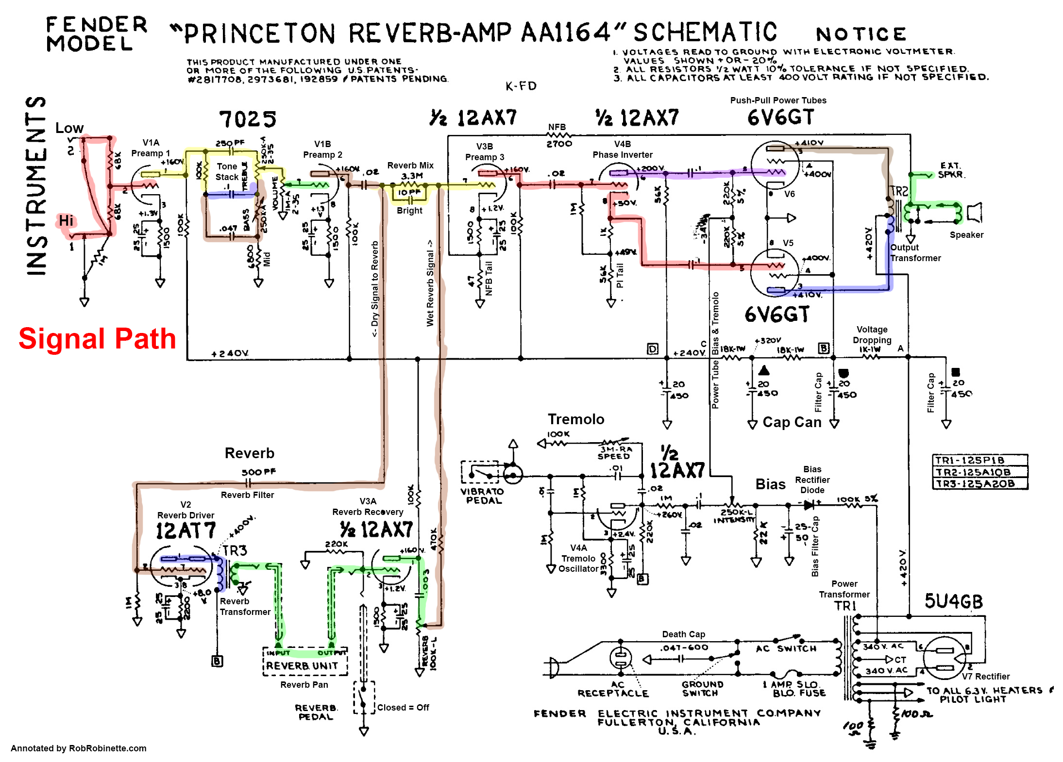 Princeton Reverb Annotated Schematic With Signal Path Princeton Reverb Princeton Diy Guitar Amp