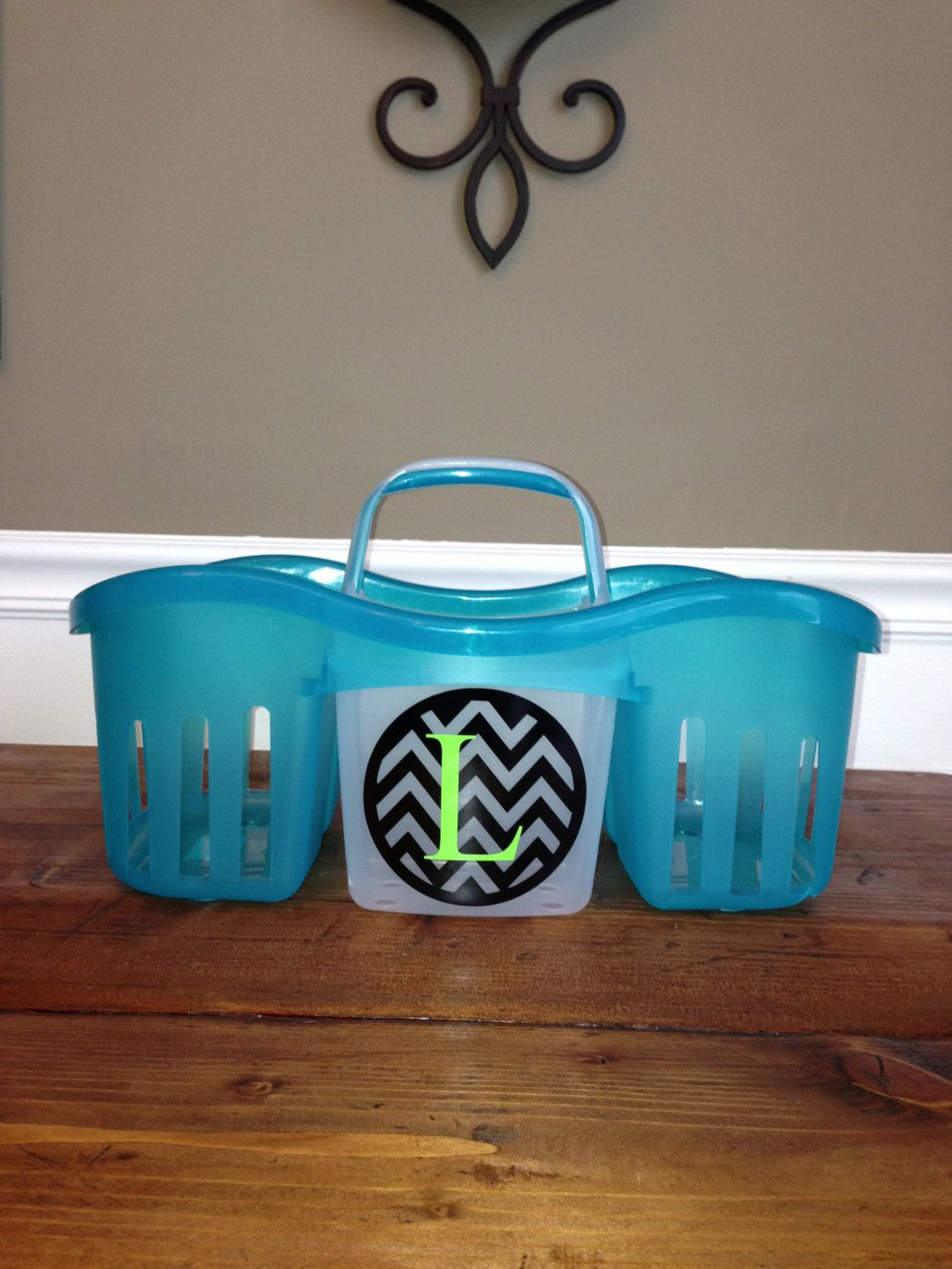 NEW++Turquoise+Plastic+Shower+Caddy+with+by+BlackCatCollege,+$18.00 ...