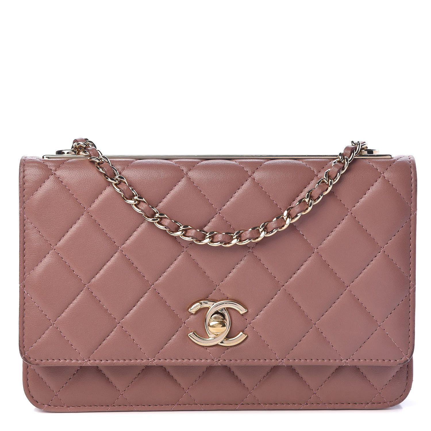 CHANEL Lambskin Quilted Trendy CC Wallet On Chain WOC Pink