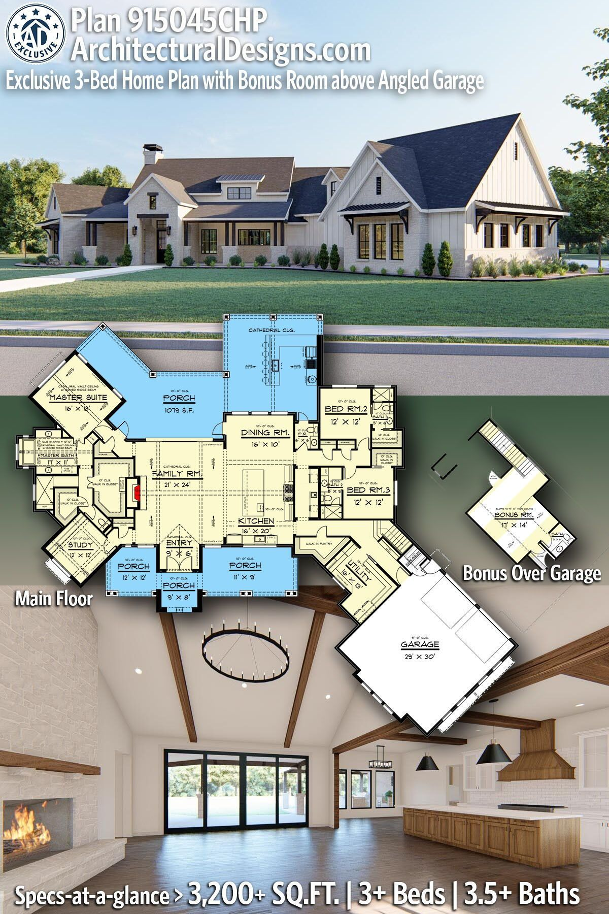 Plan 915045chp Exclusive 3 Bed Home Plan With Bonus Room Above Angled Garage In 2020 Multigenerational House Plans Dream House Plans Exclusive House Plan
