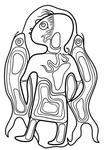 Boy with Fish by Norval Morrisseau