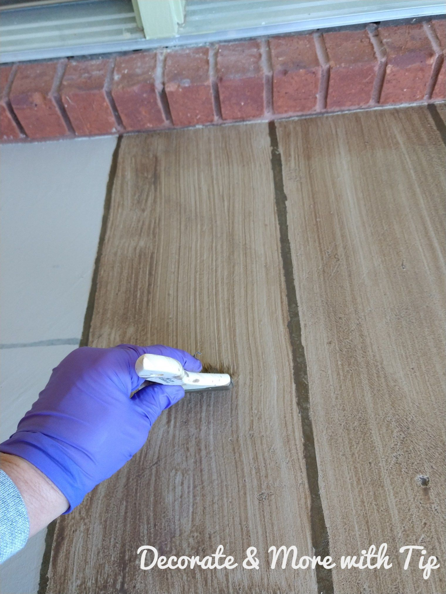 How I Painted Stained My Concrete Floor To Look Like Wood Concrete Floors Paint Concrete Patio Concrete Floors Diy