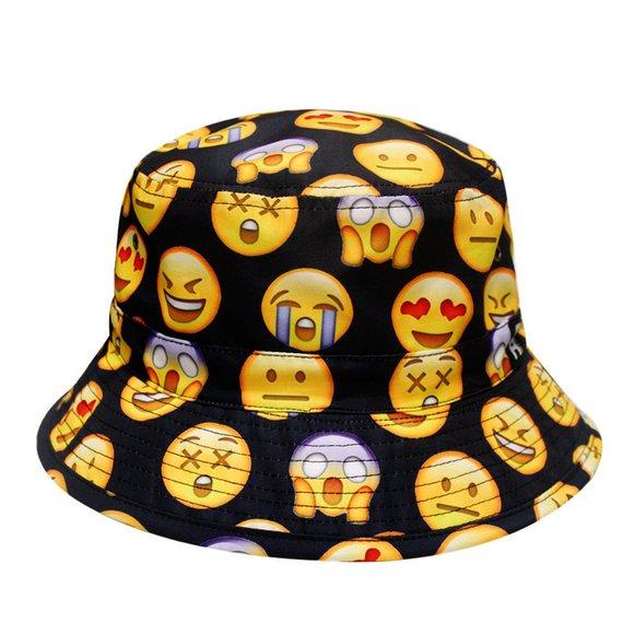 Capsule Design Cute Emoji All Over Bucket Hat Black  6ea91f359c8