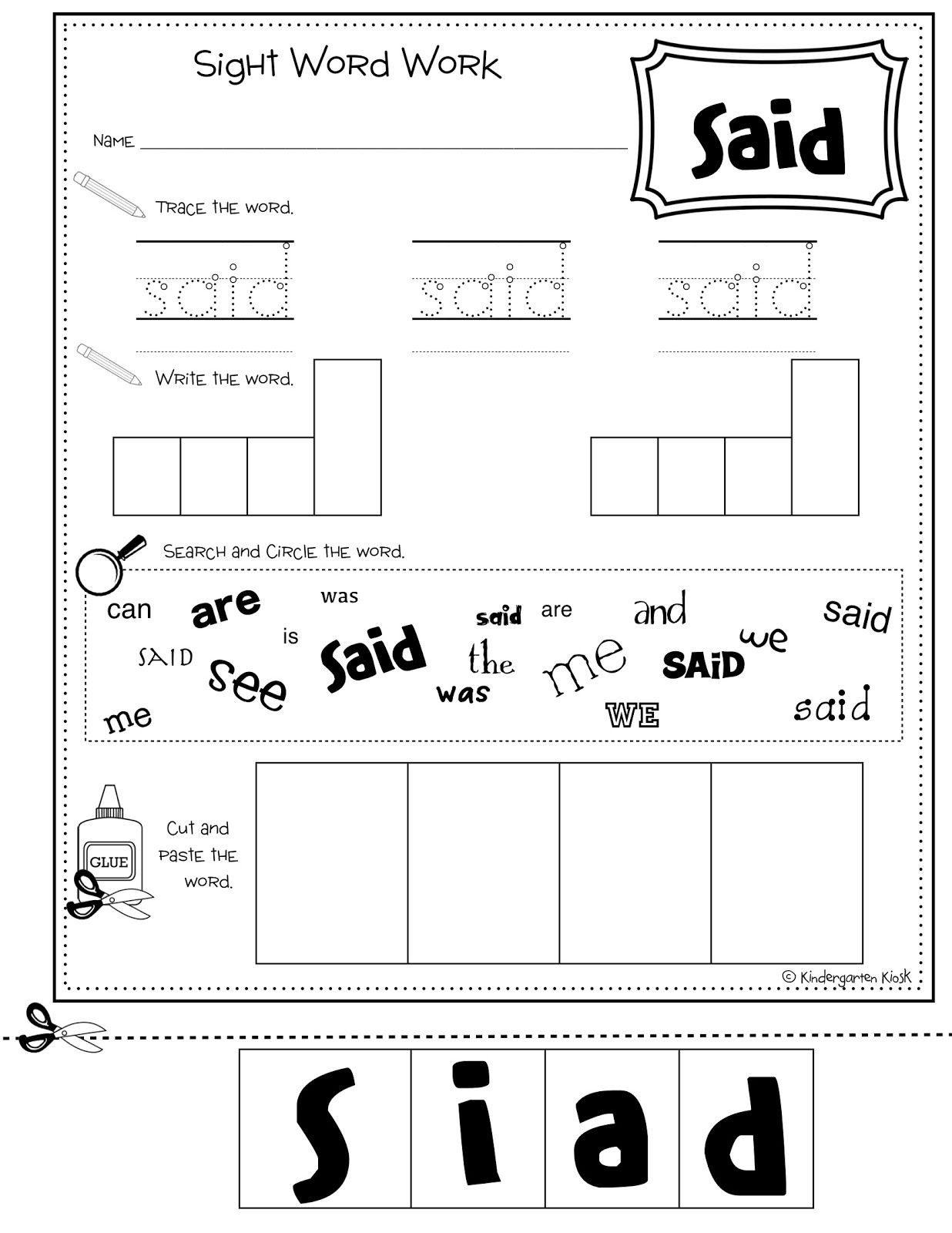 Sight Words For Kindergarten Contents Include – Site Word Worksheets for Kindergarten