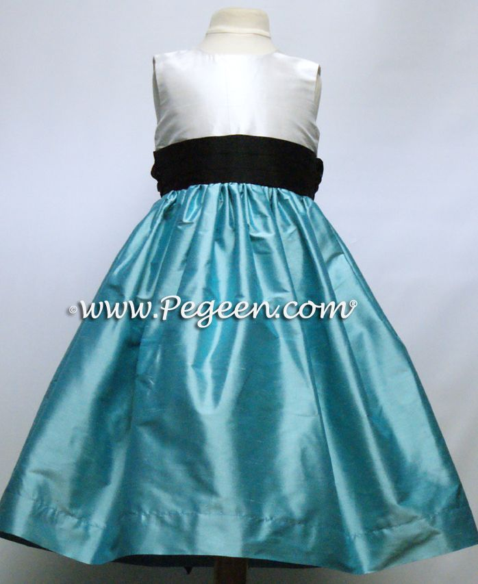 fc4abc453 TIFFANY BLUE, AQUA AND BLACK FLOWER GIRL DRESSES OR JUNIOR BRIDESMAIDS  DRESSES WITH BLACK SASH STYLE 398 BY PEGEEN