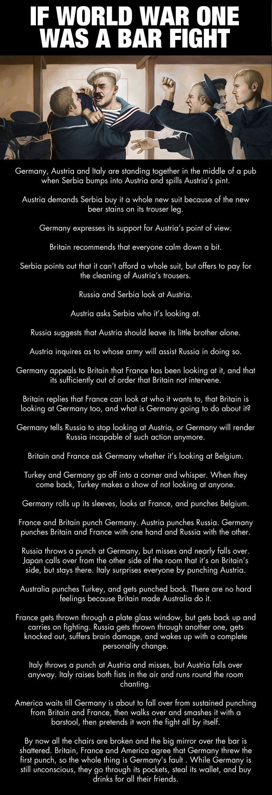 If World War One Was A Bar Fight Funny Jokes Story Lol War Funny