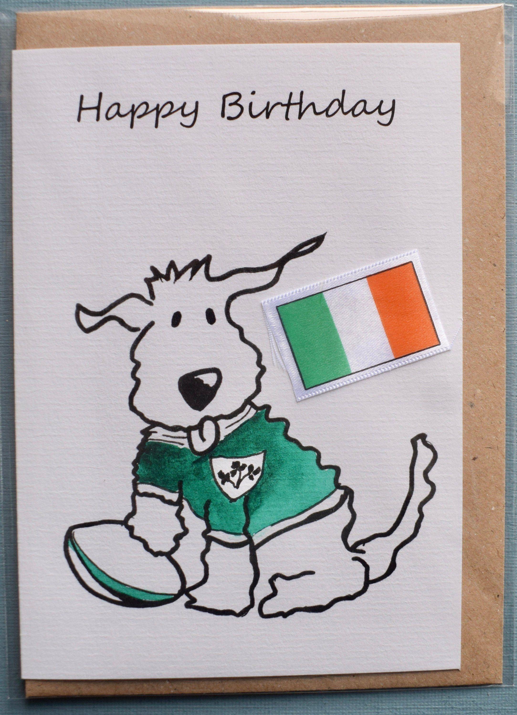 Birthday Card Ireland Rugby Dog Greetings Card Animal Etsy Dog Greeting Cards Birthday Cards Husband Birthday Card