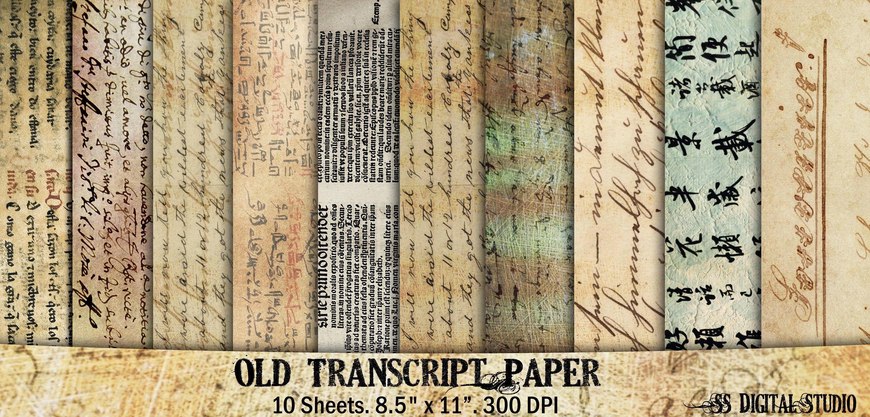Halloween 2020 Transcript Old Transcript scripted note aged Vintage digital paper | Etsy in