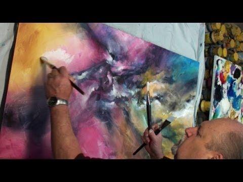 Abstract Art Painting Vertigo Color Explosion Modern Mix Lang How To Demo Youtube Abstrakte Malerier Malerier Abstrakt
