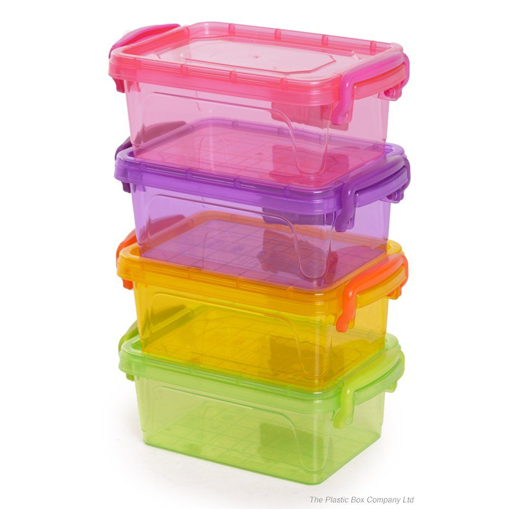 Craft containers with lids - Plastic Craft Storage Drawers 600ml Rectangle Colourful Bon Bon Multi Plastic Storage Box