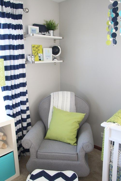 Nursery Glider Baby Boy Little Room Navy Lime Green And Gray This Is Our Bliss