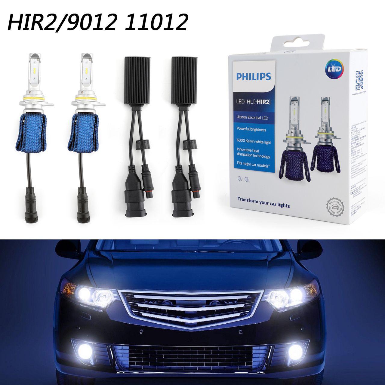 2x Philips Ultinon Led Kit 6000k White Hir2 Bulbs Head Light Dual Beam Replace Led Kit Philips Led