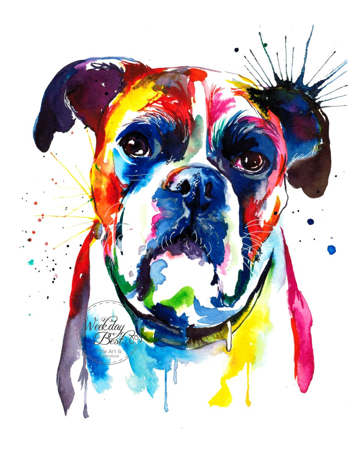 Colorful Boxer Dog Art Print Print Of My Original By Weekdaybest