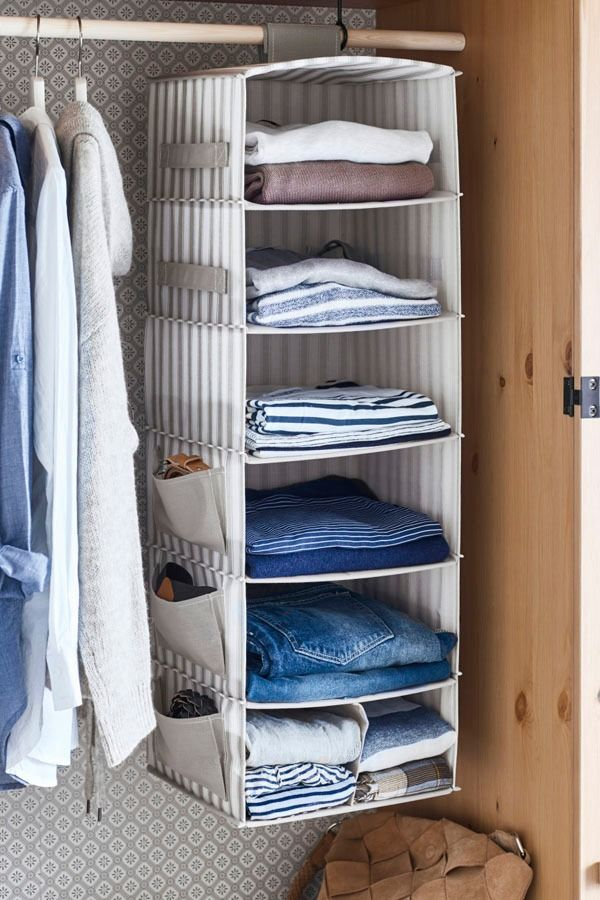 SVIRA Hanging storage with 7 compartments, gray, white stripe ...
