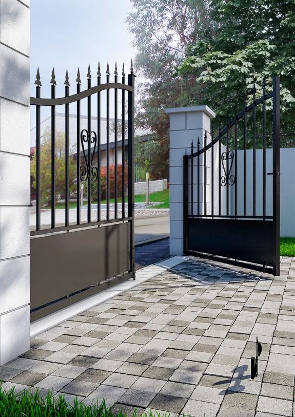 Portail Fer Braga Noir 300 X H 120 174 Cm Jardin