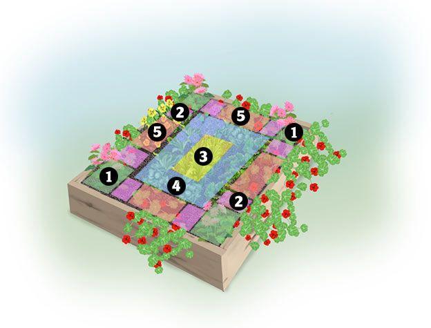 """Spring Bouquet"" 4x4-foot Garden Design Plan from @Bren"