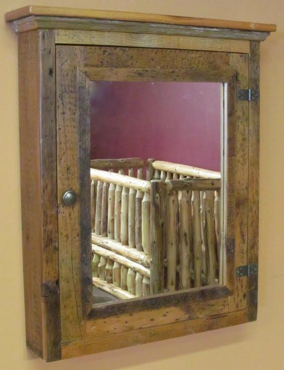 Bathroom Mirror Rustic barn wood medicine cabinet with mirror - vienna woodworks rustic