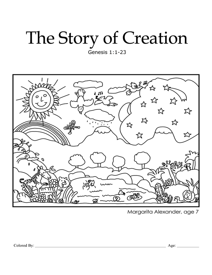 Creation genesis 1 1 18 kcmb ch 1 coloring page for Coloring pages of creation