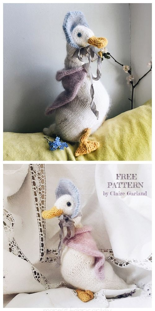 Easy Knit Jemima Duck Toy Plush Free Knitting Pattern
