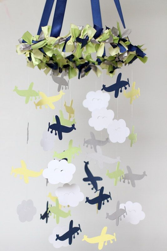 Airplane Cloud & Star Nursery Mobile in Navy by LovebugLullabies