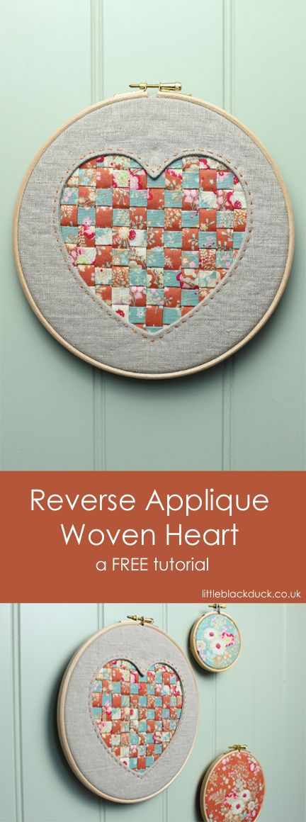 Hoop Art :: Reverse Applique Heart with woven Tilda Fabrics from the Cabbage Rose Autumn 2016 range. Full tutorial on the blog
