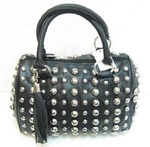 Amazon.com: Designer Inspired Skepps Studded Satchel - Black: Clothing