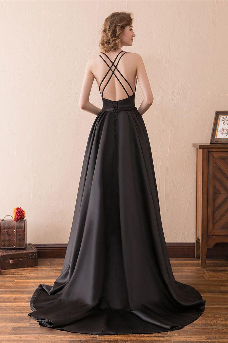 119 00 Open Back Simple Black Satin Long Evening Dress With Train Ch6672 Gemgrace Com Prom Dresses Dresses Evening Dresses Long [ 1200 x 800 Pixel ]